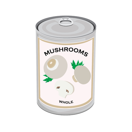 tincan: Raster illustration can of whole champignon mushrooms isolated on white background. Canned food