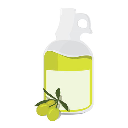 extra virgin olive oil: Raster illustration bottle with olive oil extra virgin and branch of green olives with leaves or cooking, gastronomy, oil and vegetarian design Stock Photo