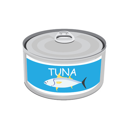 conserved: Raster illustration canned tuna fish icon. Can of tuna with label tuna fish. Flat design
