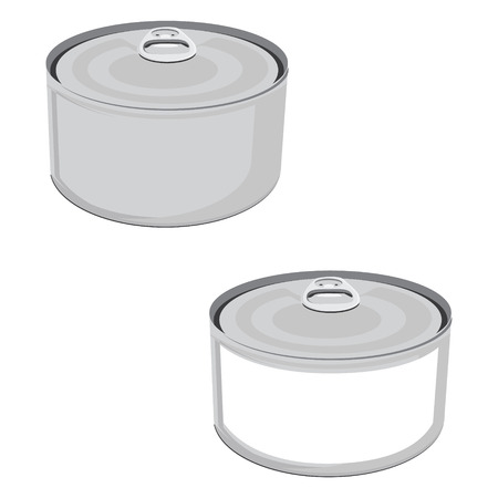 aluminum can: Raster illustration fish conserve with white label. Tin can. Blank aluminum can. Can of tuna fish