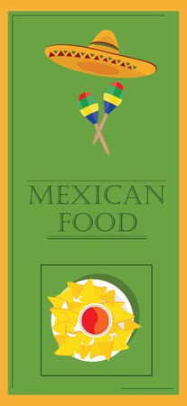 chips and salsa: Raster illustration mexican food poster for restaurant. Mexican traditional food cafe restaurant and bar banner. Mexican menu template