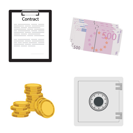 safe payment: Web, raster icon set. Money, finance, payment. Raster illustration of bank safe, stack of golden coins, business contract and euro banknote