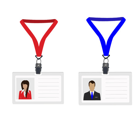 name badge: Raster illustration white plastic lanyard with woman and man photo. Name badge. Name tag. Employee badge