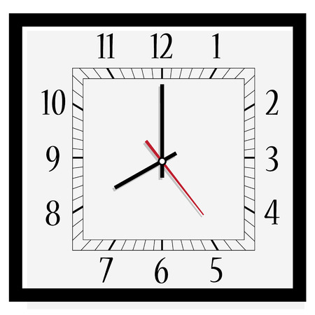dial: Raster illustration office square clock. Classic black and white  wall clock isolated on white. Clock on wall shows eight oclock Stock Photo