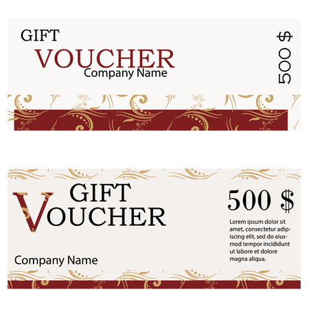 Voucher Gift Certificate Coupon Template Ctor Stock Photo