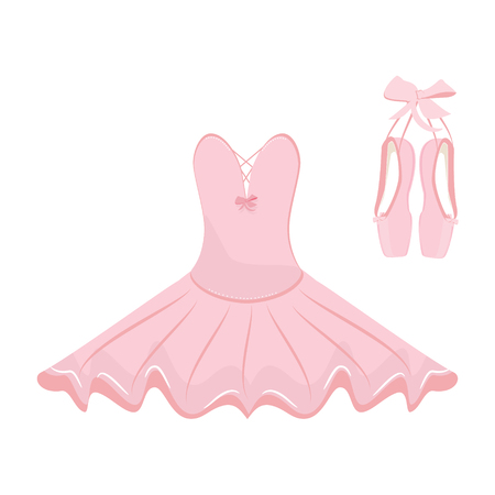 Raster illustration hanging pink ballet pointes and ballet dress. Pointes shoes and ballet tutu for ballerina.