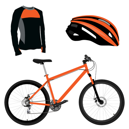 sports uniform: Orange bicycle, helmet and shirt raster icon set. Sport equipment. Sports uniform or biking clothes