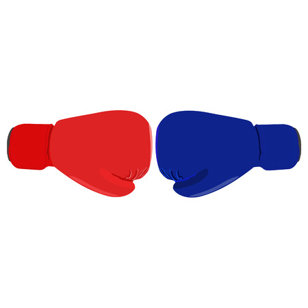 clash: Raster illustration red and blue boxing glove. Clash of boxing gloves isolated on white background. Sport equipment