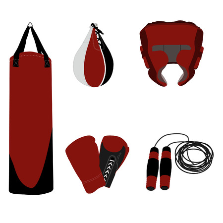 punching: Re boxing set jumping rope, boxing gloves, bag, helmet and punching bag, sport equipment, boxing equipment