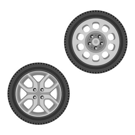 two wheel: Raster illustration two car wheel design isolated on white background. Car tire. Transport wheel icon