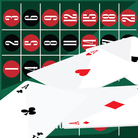 aces: Raster illustration winning poker hand of four aces playing cards suits. Casino background
