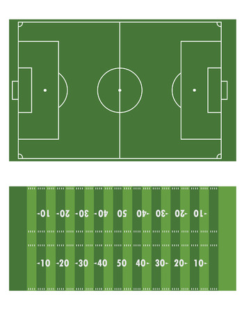 touchline: Soccer and american football field raster set isolated Stock Photo