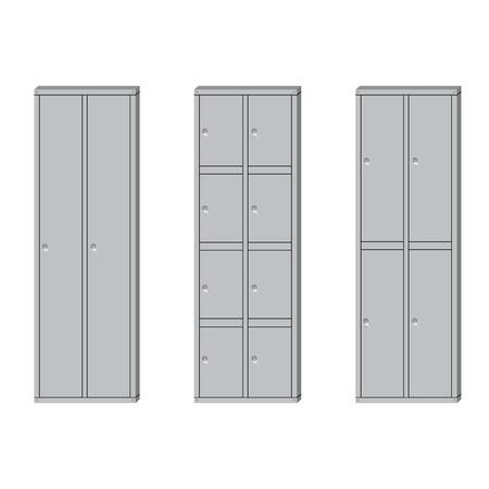 locker: Raster illustration set of metal school sport lockers. Gym locker. Locker door. Deposit lockers Stock Photo