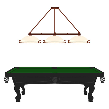 snooker hall: Raster illustration retro, vintage pool table with green cloth and lamp with three shades. Empty billiard table