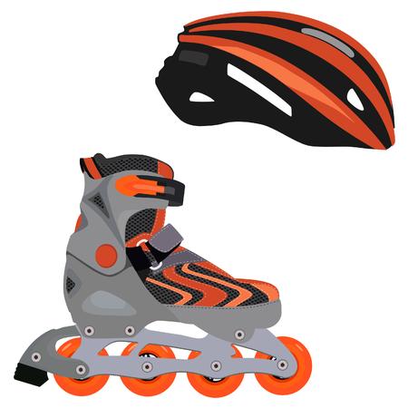 rollerskating: Orange rolerblade and helmet raster, rollerskating, rollerblading. Sport equipment Stock Photo