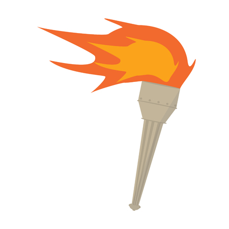 glow stick: Raster torch icon. Hot flame, power flaming, heat and liberty, victory success, glow triumph illustration