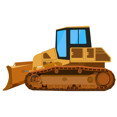 dredger: Raster illustration yellow building bulldozer. Mining bulldozer