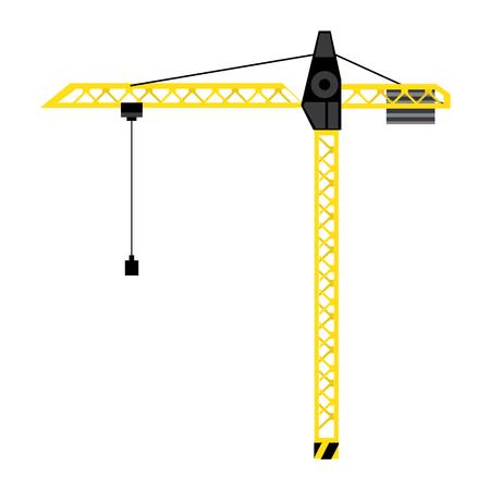 heavy construction: Raster illustration yellow construction crane tower. Crane flat icon. Tall heavy iron frame crane