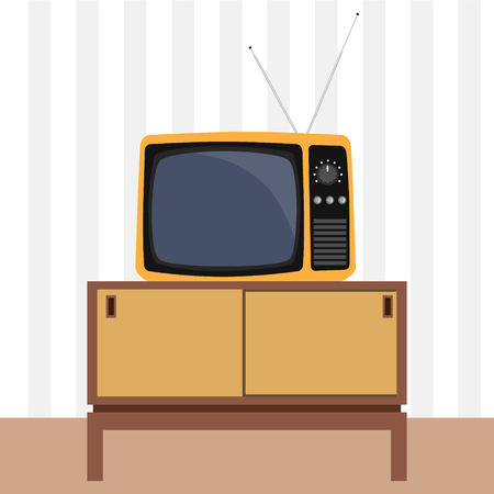 living room tv: Raster illustration classic living room interior design with retro tv and furniture.