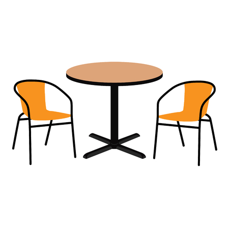 Raster illustration wooden outdoor table and two chairs. Round table and chairs for cafe, restaurant terrace