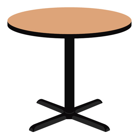 metal legs: Raster illustration empty wooden round table. Wooden furniture.