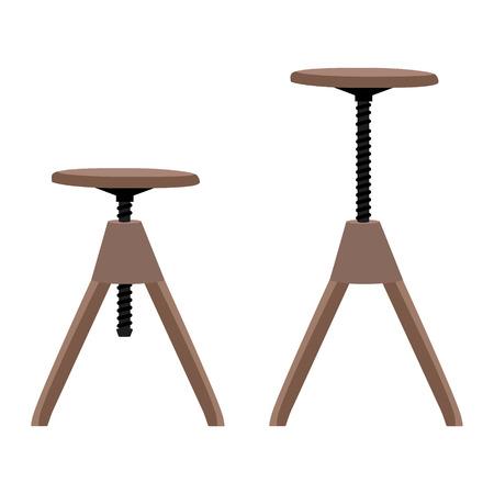 Raster illustration high and low wooden screw stool, tabouret.  Bar furniture