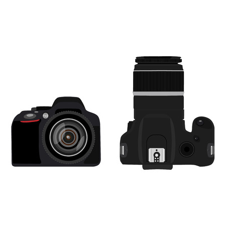 slr: Raster illustration slr camera top and side view . Dslr realistic photo camera icon. Digital camera