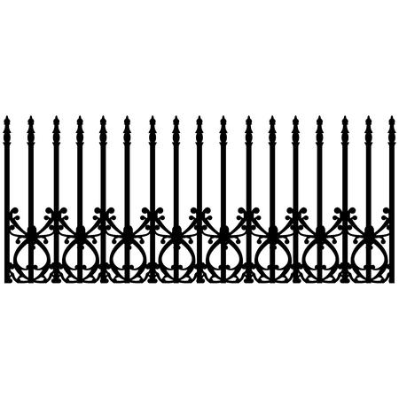 railing: Raster illustration wrought iron modular railing and fence. Vintage gate with swirls Stock Photo