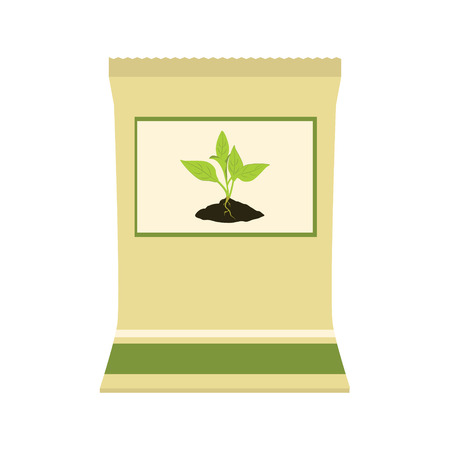 phosphate: Raster illustration brown, paper bag with fertilizer. Plant growing in the ground. Little plant seedling. Seedling icon Stock Photo