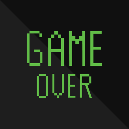 8bit: Raster pixel message with green text game over on black background. Pixel game. Game over concept