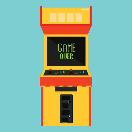 space invaders game: Raster illustration retro arcade with pixel game over message.