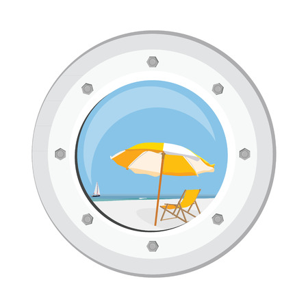 ship porthole: Raster illustration boat round porthole seascape isolated on white. Metal ship porthole with rivets. Sea, sand, beach umbrella, beach chair and sail boat view from porthole