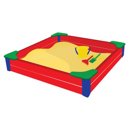 sandpit: Raster illustration colorful sandbox with baby toys bucket, sand shovel and rake. Beach toys Stock Photo