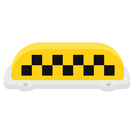 yellow taxi: Raster illustration yellow taxi sign or symbol. Taxi service. Checkered taxi sign