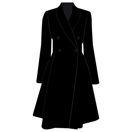 autumn fashion: Raster illustration elegant fashion black trench coat. Autumn dress model, design