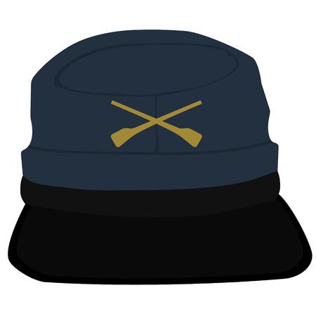 kepi: Raster illustration kepi, cap army uniform headgear. Historic general hat