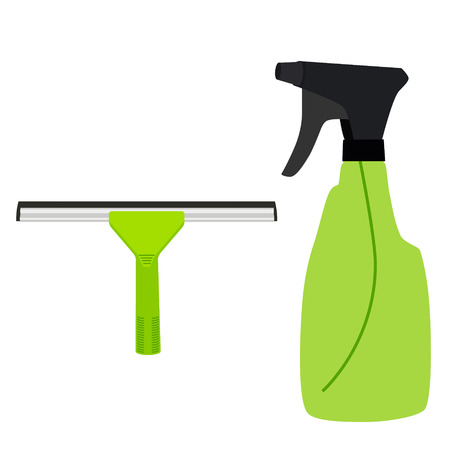 squeegee: Raster illustration green rubber window glass squeegee, cleaner and bottle with spray. Cleaning supplies