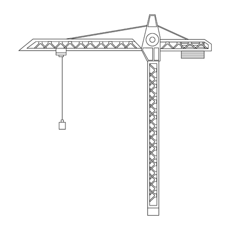 crane tower: Raster illustration construction crane tower outline drawings. Crane flat icon. Tall heavy iron frame crane