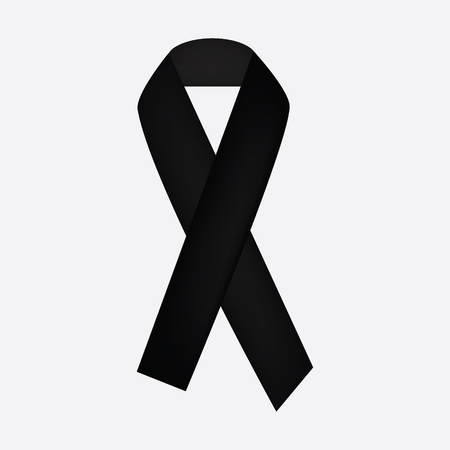 condolence: Black awareness ribbon on white background. Mourning and melanoma symbol.