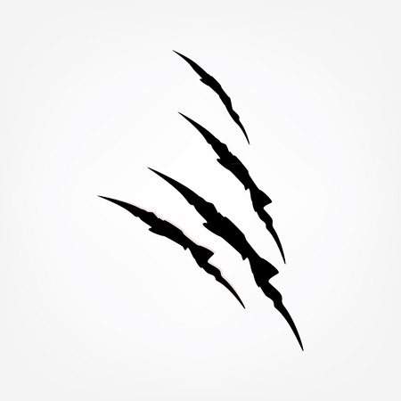 claw: Raster illustration claw scratches.  Three vertical trace of monster claw, hand scratch, rip through, break through.