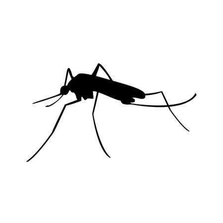 Raster illustration insect. Malaria or mosquito. Mosquito black silhouette.