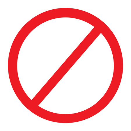 Raster illustration of red no sign icon. Empty sign forbidden