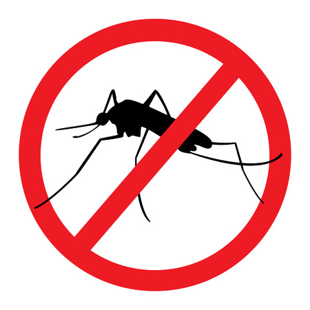malaria: Raster illustration stop mosquito, malaria sign for spray insecticide