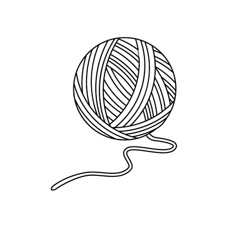 Raster illustration outline drawing or yarn ball for knitting Фото со стока