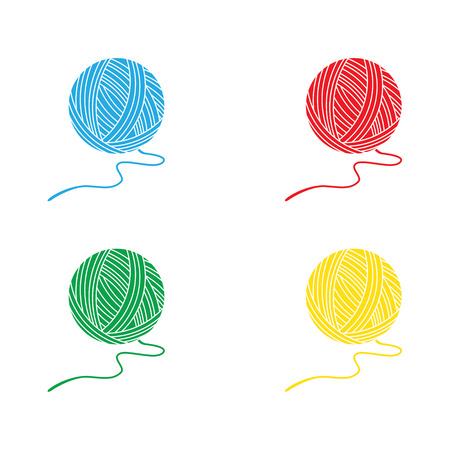 Set of balls of a yarn red, yellow, blue and green. Raster illustration yarn balls for knitting Stock Photo