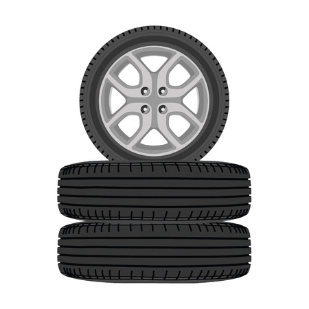 winter car: Raster illustration new, shiny winter car wheels. Stack of realistic car wheels