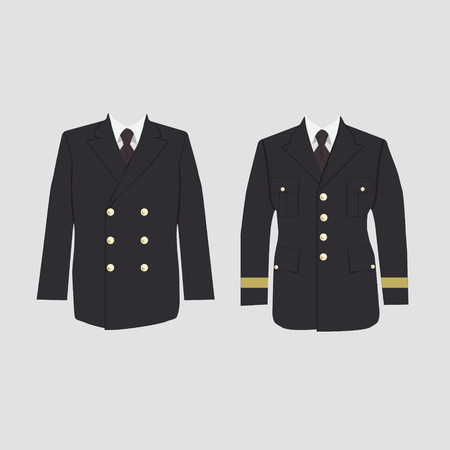 united states air force: Raster illustration of military uniform, warpaint. Captain jacket with tie. Winter coat