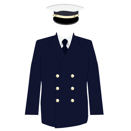 double breasted: Raster illustration navy captain, officer uniform. Hat and double breasted jacket with tie Stock Photo