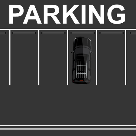 symbol traffic: Raster illustration top view parking lot concept. Black car top view. Generic car. Sport car