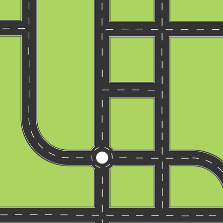 symbol traffic: Road city top view. Road map or plan with circle and left, right turns. Highway road. Road map background, wallpaper
